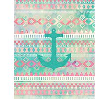 Emerald Nautical Anchor Pastel Watercolor Aztec Photographic Print