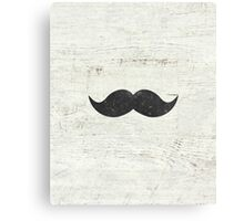 Vintage Funny Mustache White Retro Wood Canvas Print