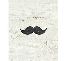 Vintage Funny Mustache White Retro Wood Photographic Print