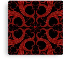 Heart Fractal in Red and Black Canvas Print