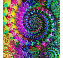Psychedelic Rainbow Crazy Fractal Pattern Photographic Print