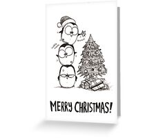 1 Christmas Tree, 3 Fat Penguins Greeting Card