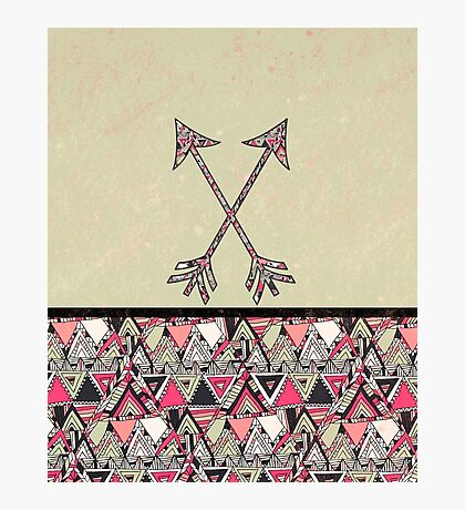 Retro Tribal Arrows Vintage Earth Aztec Pattern Photographic Print