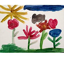 colorful flowers and blue sky Photographic Print
