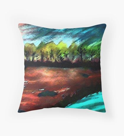 Down by the water, as day ends, watercolor Throw Pillow