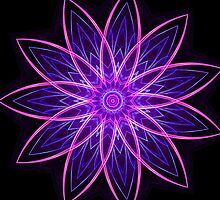 Fractal Flower Purple -  by Leah McNeir