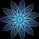 Fractal Flower Blue  by Leah McNeir