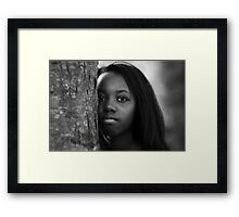 A Girl Behind the Tree Framed Print