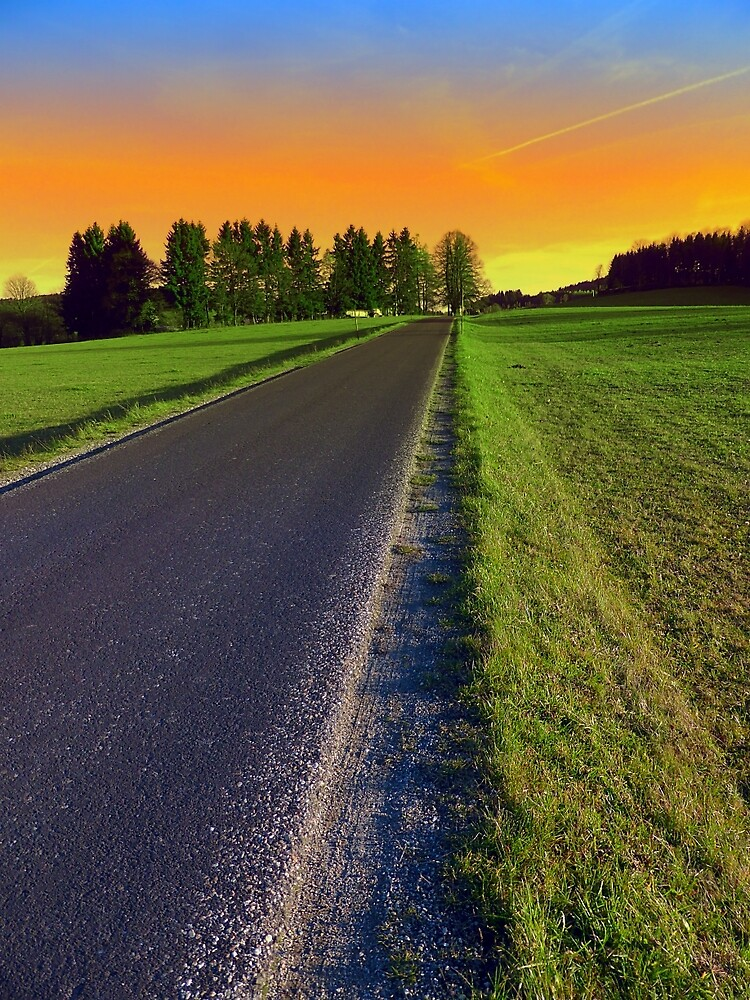 Country road into surreal sundown   landscape photography by Patrick Jobst