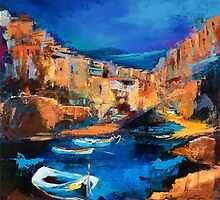 Night Colors Over the Italian Riviera - Cinque Terre by Elise Palmigiani