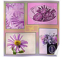 Photo Collage Purple And Pinks Poster