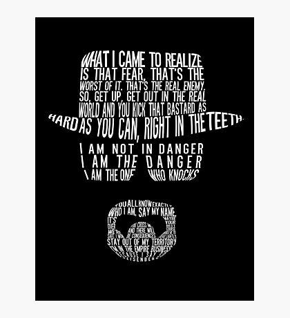 Breaking Bad - Walter White/Heisenberg Typography (White Print) Photographic Print