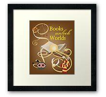 Books Unlock Worlds Framed Print