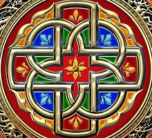 Treasure Trove: Celtic Cross [Gold+Red+Blue Enamel] by Serge Averbukh