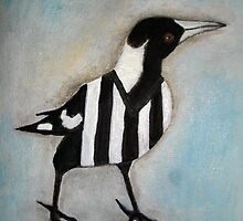 Magpie Looking Right by Julie  Sutherland