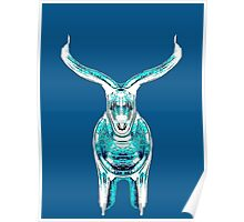 Bull, turquoise Poster
