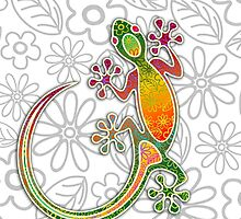 Gecko Floral Tribal Art by BluedarkArt