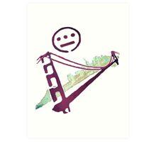 Stencil Golden Gate San Francisco Outline Art Print