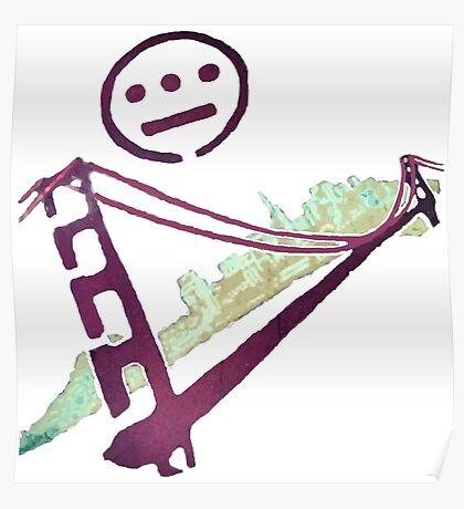 Stencil Golden Gate San Francisco Outline Poster