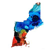 New England - Map By Sharon Cummings Photographic Print