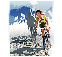 Vintage Retro Style Graphic Illustration Print Original : Tour De France Legend Hinault and Map Poster