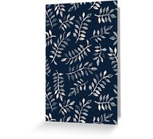 White Leaves on Navy - a hand painted pattern Greeting Card