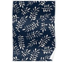 White Leaves on Navy - a hand painted pattern Poster