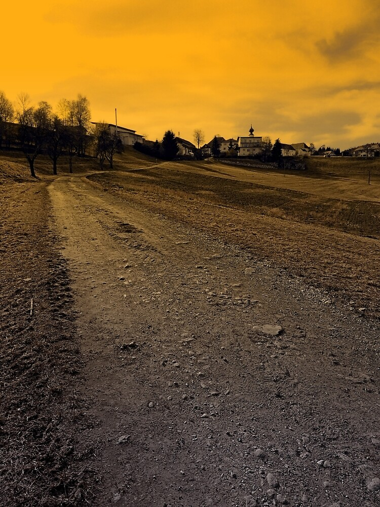 Path up to the village at evening | landscape photography by Patrick Jobst