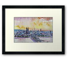 Cologne Skyline With Deutz Bridge And Rhine II Framed Print