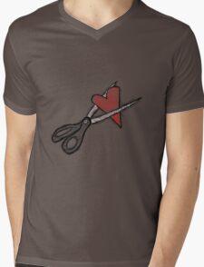 Scissors+heart= Mens V-Neck T-Shirt