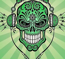 Green DJ Sugar Skull by Jeff Bartels
