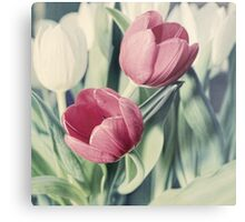Twin Tulips in Pastel Pink Metal Print