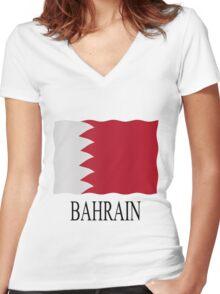 Bahrain flag Women's Fitted V-Neck T-Shirt
