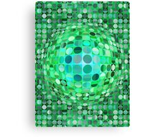 Optical Illusion Sphere - Green Canvas Print