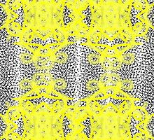 Vintage Inspired Yellow Black White Fancy Patterned by Artification