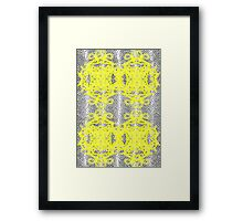 Vintage Inspired Yellow Black White Fancy Patterned Framed Print