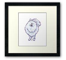 Animal Parade White Pomeranian Silhouette Framed Print