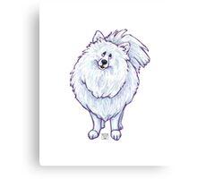 Animal Parade White Pomeranian Silhouette Canvas Print