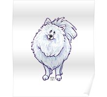 Animal Parade White Pomeranian Silhouette Poster