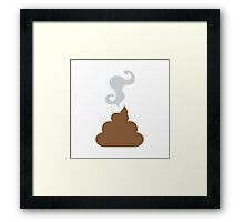 Simple Brown smelly turd crap with stink lines Framed Print
