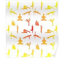 Yoga Positions In Gradient Colors Poster