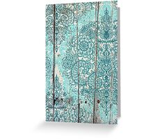 Teal & Aqua Botanical Doodle on Weathered Wood Greeting Card