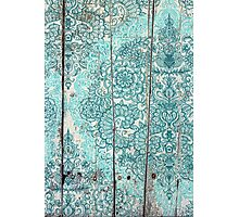 Teal & Aqua Botanical Doodle on Weathered Wood Photographic Print