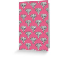 Elephant Pattern on Pink Greeting Card