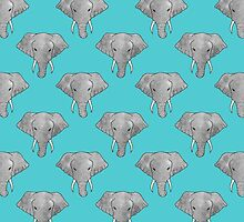 Elephant Pattern on Blue by Perrin Le Feuvre