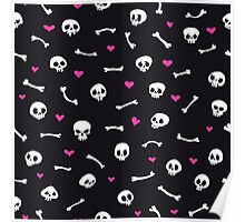 Cartoon Skulls with Hearts on Black Background Seamless Pattern Poster