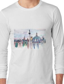 London with Big Ben in watercolor Long Sleeve T-Shirt