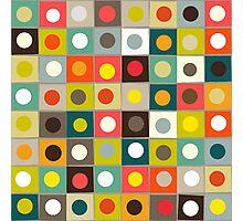 retro boxed dots Photographic Print