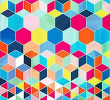 Super Bright Color Fun Hexagon Pattern by micklyn