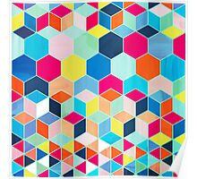 Super Bright Color Fun Hexagon Pattern Poster